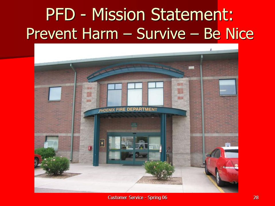 Customer Service - Spring 0628 PFD - Mission Statement: Prevent Harm – Survive – Be Nice