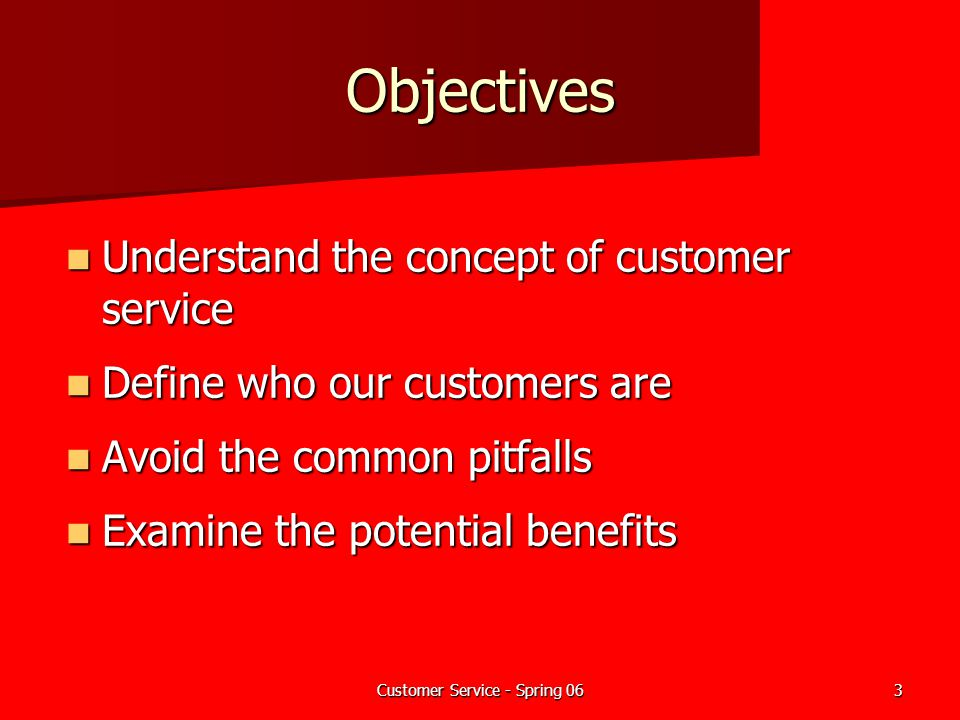 Customer Service - Spring 063 Objectives Understand the concept of customer service Understand the concept of customer service Define who our customer