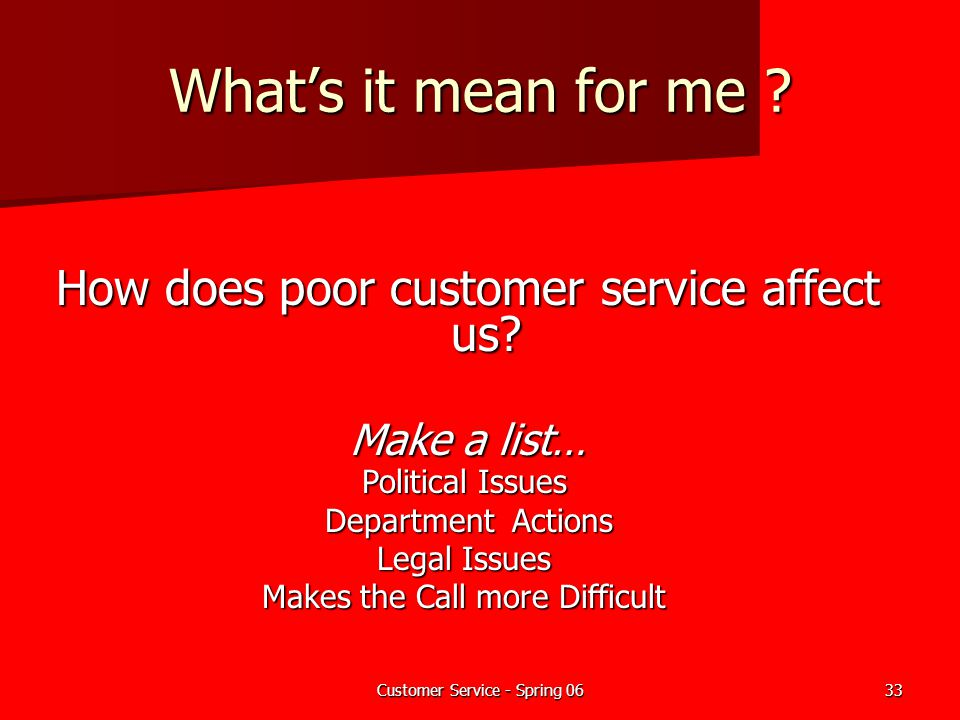 Customer Service - Spring 0633 What's it mean for me ? How does poor customer service affect us? Make a list… Political Issues Department Actions Depa