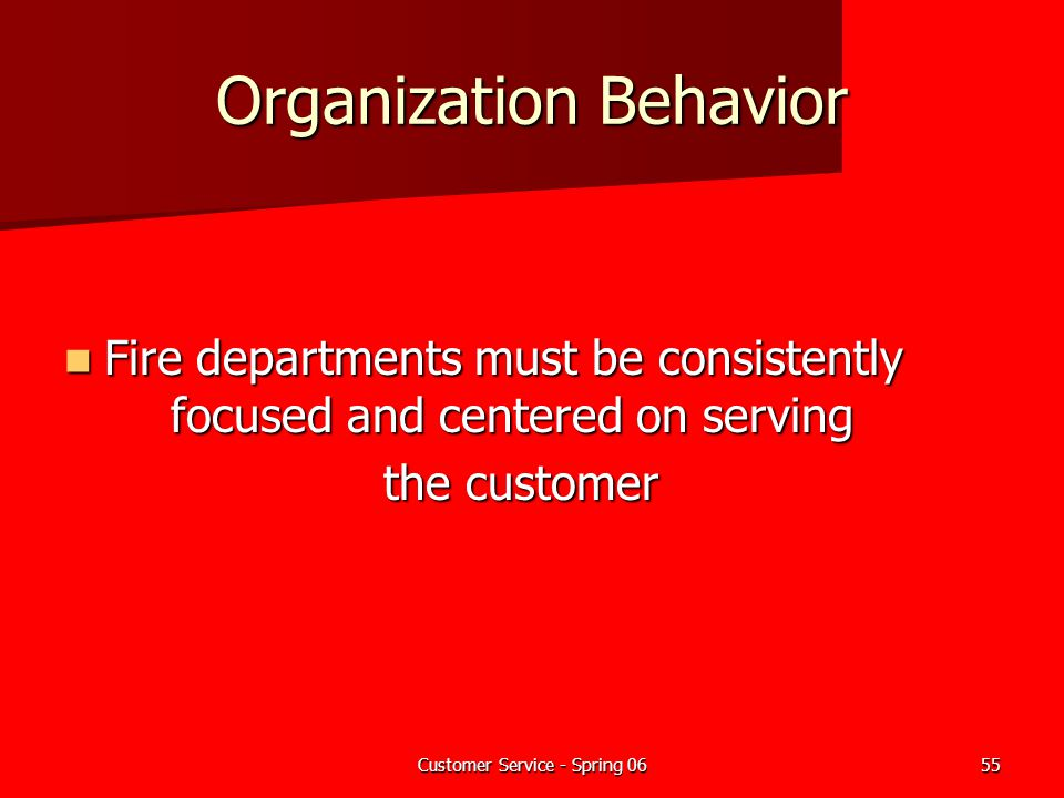 Customer Service - Spring 0655 Organization Behavior Fire departments must be consistently focused and centered on serving Fire departments must be co