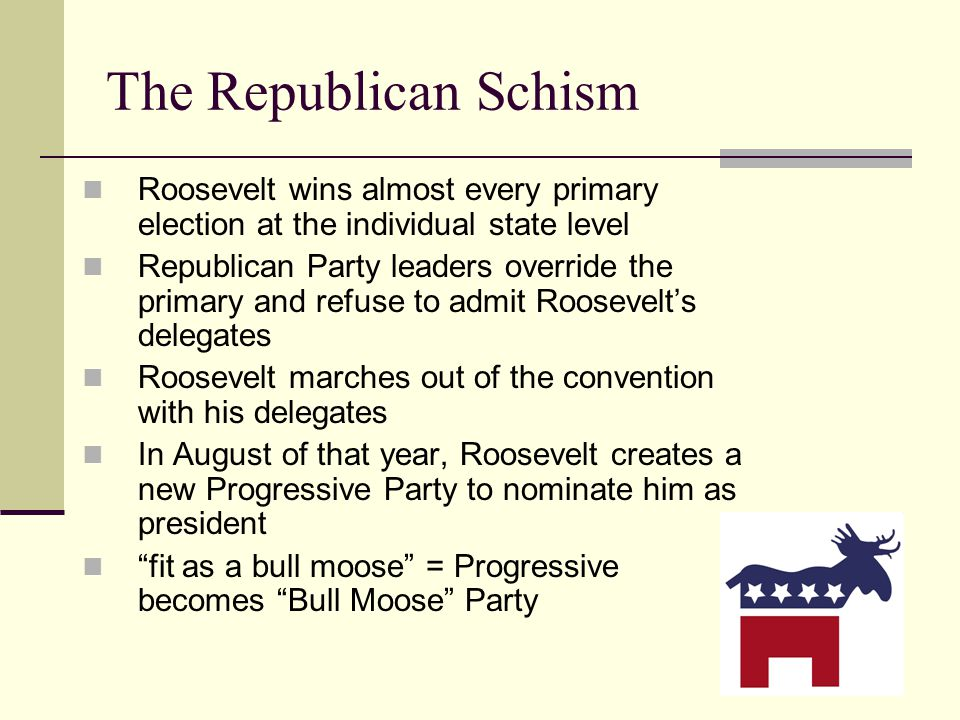 The Republican Schism Roosevelt wins almost every primary election at the individual state level Republican Party leaders override the primary and refuse to admit Roosevelt's delegates Roosevelt marches out of the convention with his delegates In August of that year, Roosevelt creates a new Progressive Party to nominate him as president fit as a bull moose = Progressive becomes Bull Moose Party