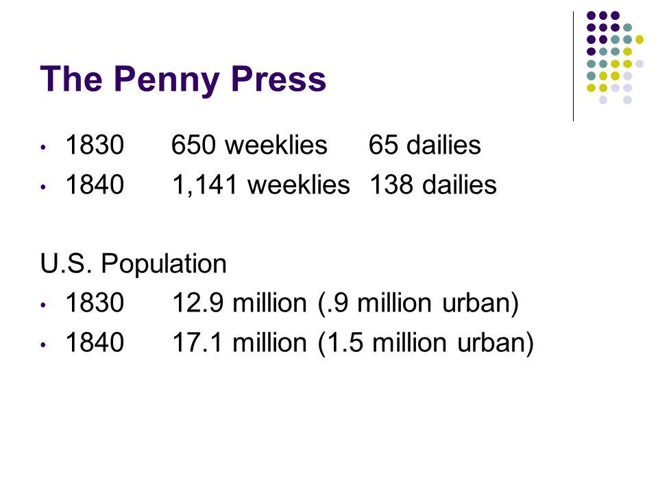 The Penny Press 1830650 weeklies65 dailies 18401,141 weeklies138 dailies U.S.