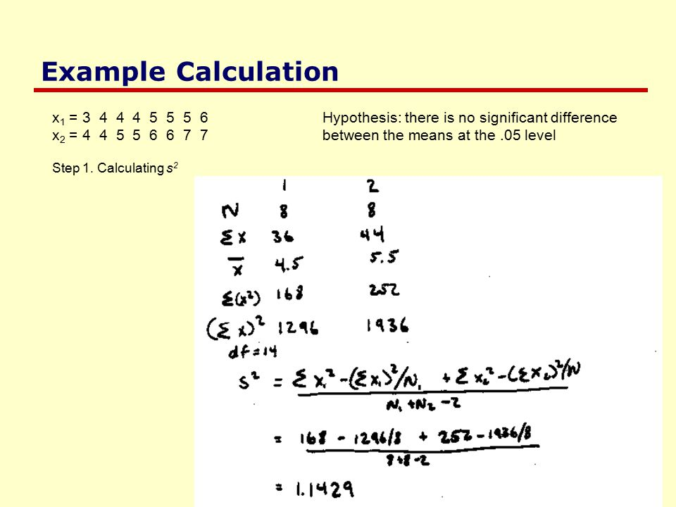 Example Calculation x 1 = 3 4 4 4 5 5 5 6Hypothesis: there is no significant difference x 2 = 4 4 5 5 6 6 7 7between the means at the.05 level Step 1.