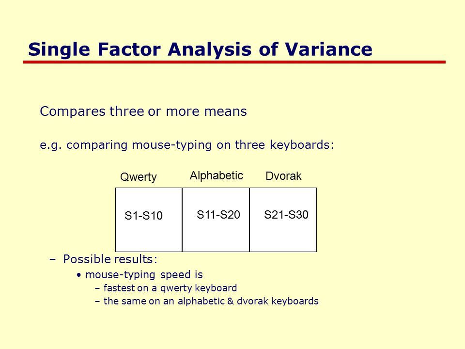 Single Factor Analysis of Variance Compares three or more means e.g.