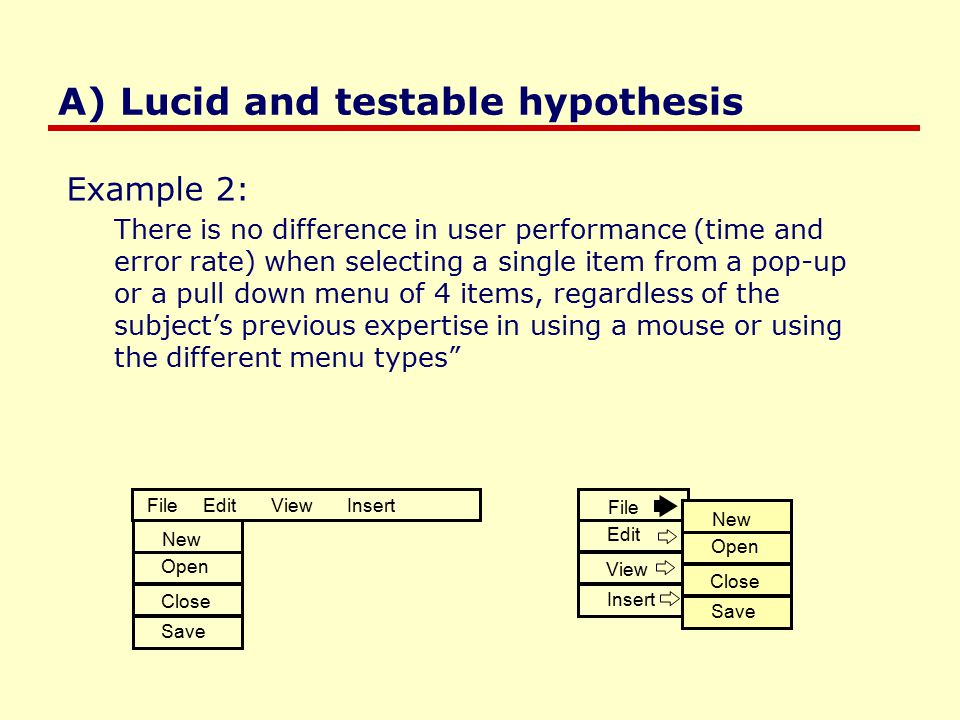 A) Lucid and testable hypothesis Example 2: There is no difference in user performance (time and error rate) when selecting a single item from a pop-up or a pull down menu of 4 items, regardless of the subject's previous expertise in using a mouse or using the different menu types File Edit View Insert New Open Close Save File Edit View Insert New Open Close Save