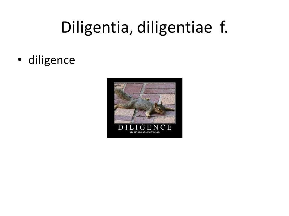 Diligentia, diligentiae f. diligence