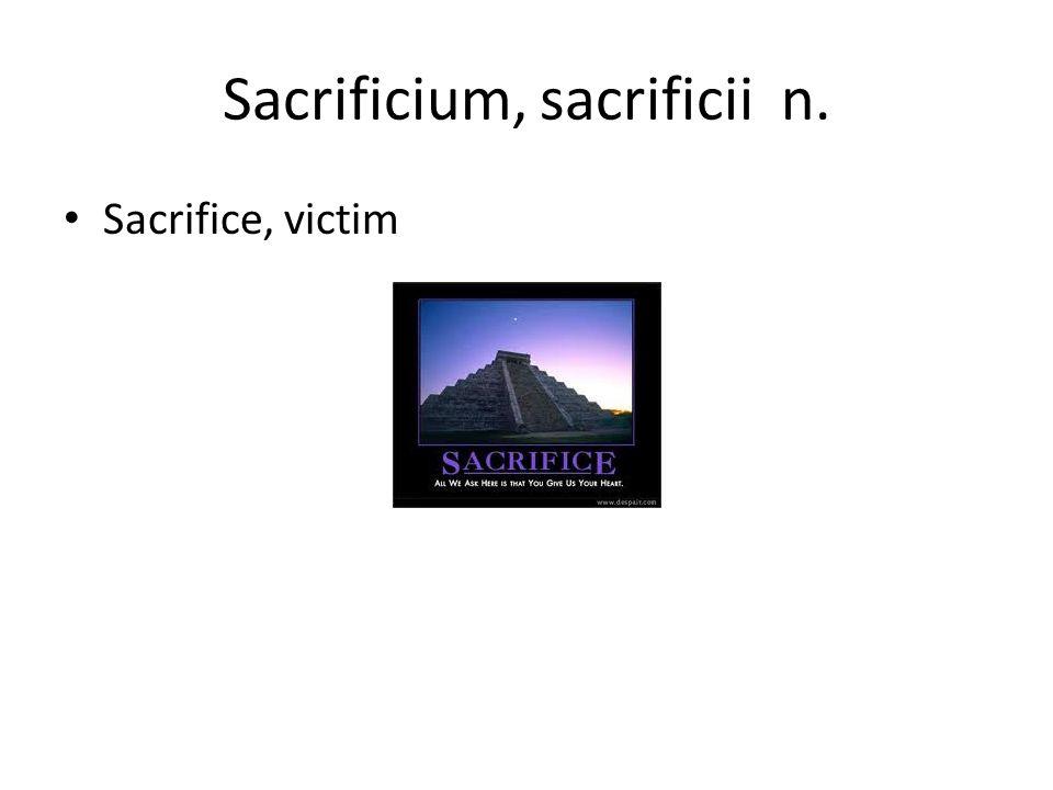 Sacrificium, sacrificii n. Sacrifice, victim