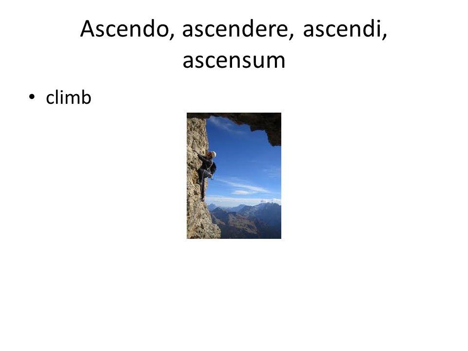 Ascendo, ascendere, ascendi, ascensum climb