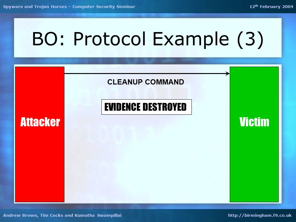 BO: Protocol Example (3) Attacker CLEANUP COMMAND EVIDENCE DESTROYED Spyware and Trojan Horses – Computer Security Seminar 12 th February 2004 Andrew Brown, Tim Cocks and Kumutha Swampillai http://birmingham.f9.co.uk Victim