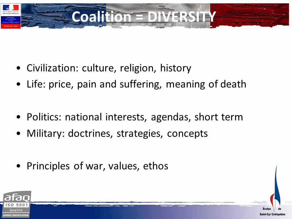 Coalition = DIVERSITY Civilization: culture, religion, history Life: price, pain and suffering, meaning of death Politics: national interests, agendas