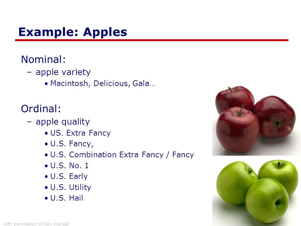 Example: Apples Nominal: –apple variety Macintosh, Delicious, Gala… Ordinal: –apple quality US. Extra Fancy U.S. Fancy, U.S. Combination Extra Fancy /