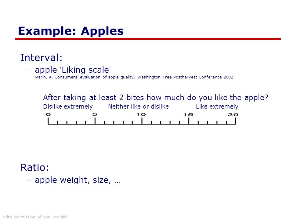 Example: Apples Interval: –apple 'Liking scale' Marin, A. Consumers' evaluation of apple quality. Washington Tree Postharvest Conference 2002. After t