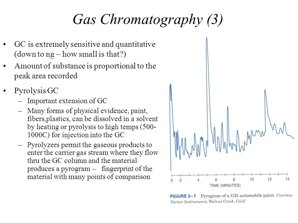 Gas Chromatography (3) GC is extremely sensitive and quantitative (down to ng – how small is that?) Amount of substance is proportional to the peak ar