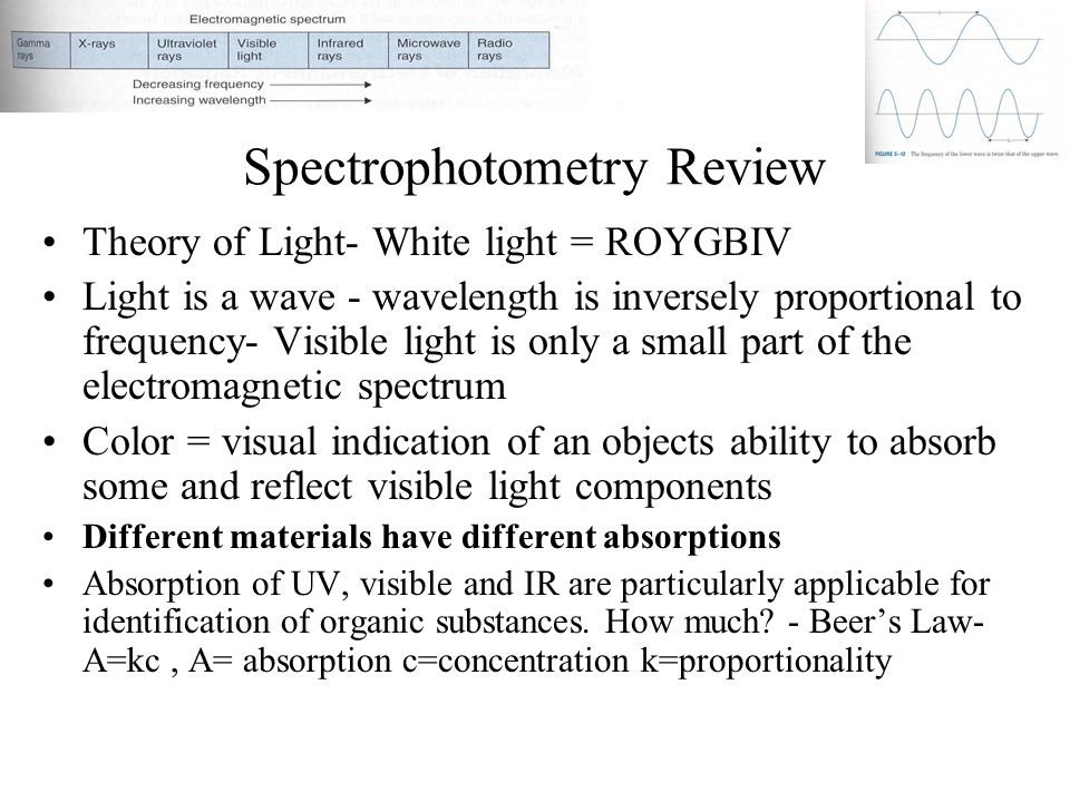 Spectrophotometry Review Theory of Light- White light = ROYGBIV Light is a wave - wavelength is inversely proportional to frequency- Visible light is