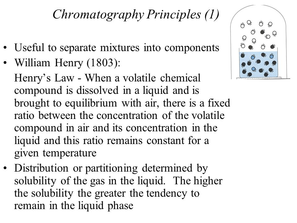 Chromatography Principles (2) One phase moves continuously in one direction Air is forced to move continuously over the water and since B (clear) has greater % in moving gas, its molecules will travel over the liquid faster than A (Dark) Race between chemical compounds.
