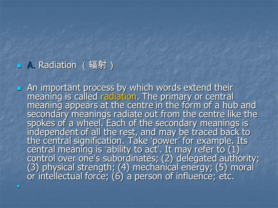 A. Radiation (辐射) A.