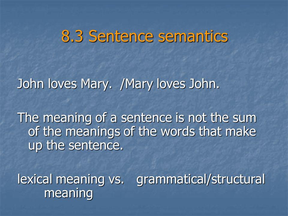 8.3 Sentence semantics John loves Mary. /Mary loves John.
