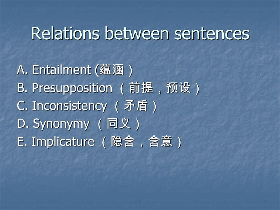Relations between sentences A. Entailment ( 蕴涵) B.
