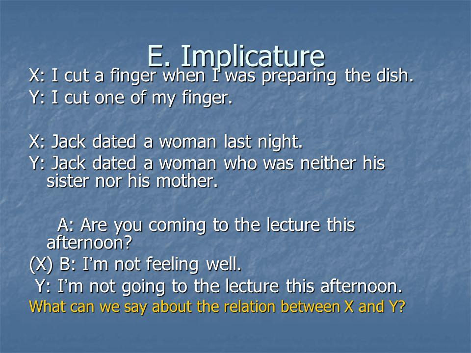 E. Implicature X: I cut a finger when I was preparing the dish.