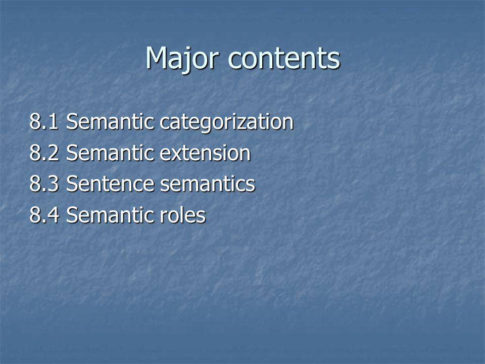 Major contents 8.1 Semantic categorization 8.2 Semantic extension 8.3 Sentence semantics 8.4 Semantic roles