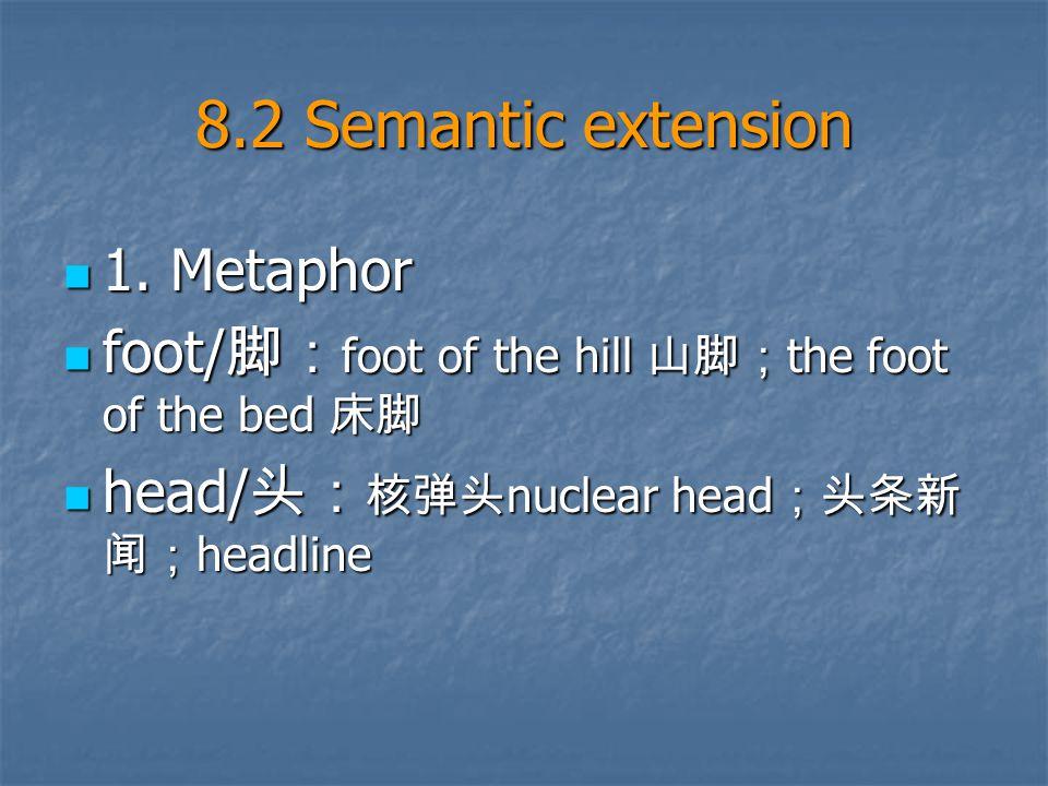 8.2 Semantic extension 1. Metaphor 1.