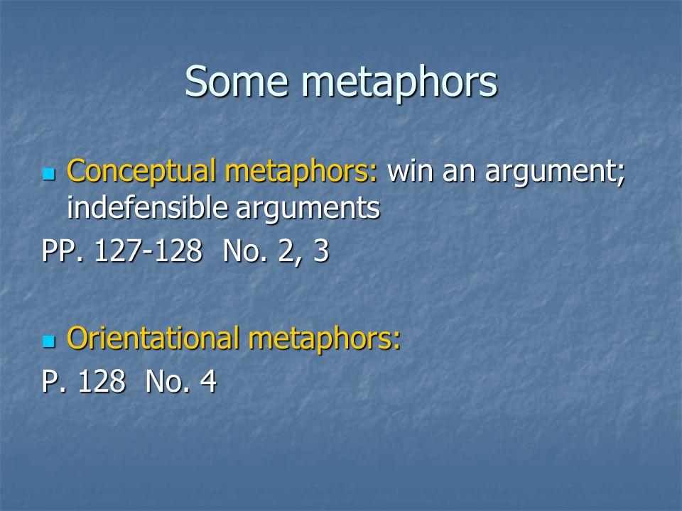 Some metaphors Conceptual metaphors: win an argument; indefensible arguments Conceptual metaphors: win an argument; indefensible arguments PP.