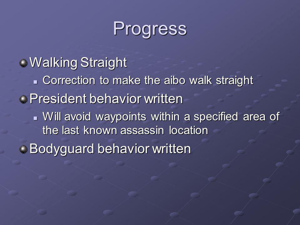Progress Walking Straight Correction to make the aibo walk straight Correction to make the aibo walk straight President behavior written Will avoid wa