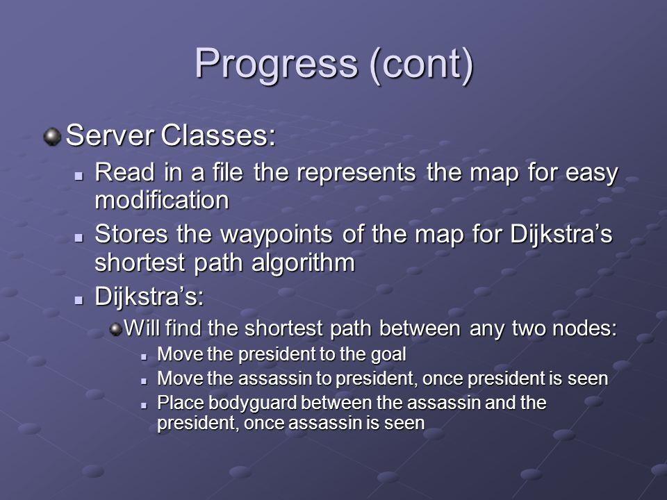 Progress (cont) Server Classes: Read in a file the represents the map for easy modification Read in a file the represents the map for easy modificatio