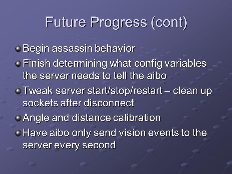 Future Progress (cont) Begin assassin behavior Finish determining what config variables the server needs to tell the aibo Tweak server start/stop/rest