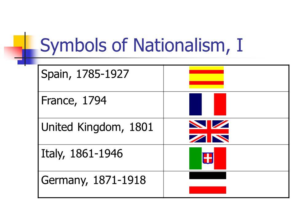 Symbols of Nationalism, I Spain, 1785-1927 France, 1794 United Kingdom, 1801 Italy, 1861-1946 Germany, 1871-1918