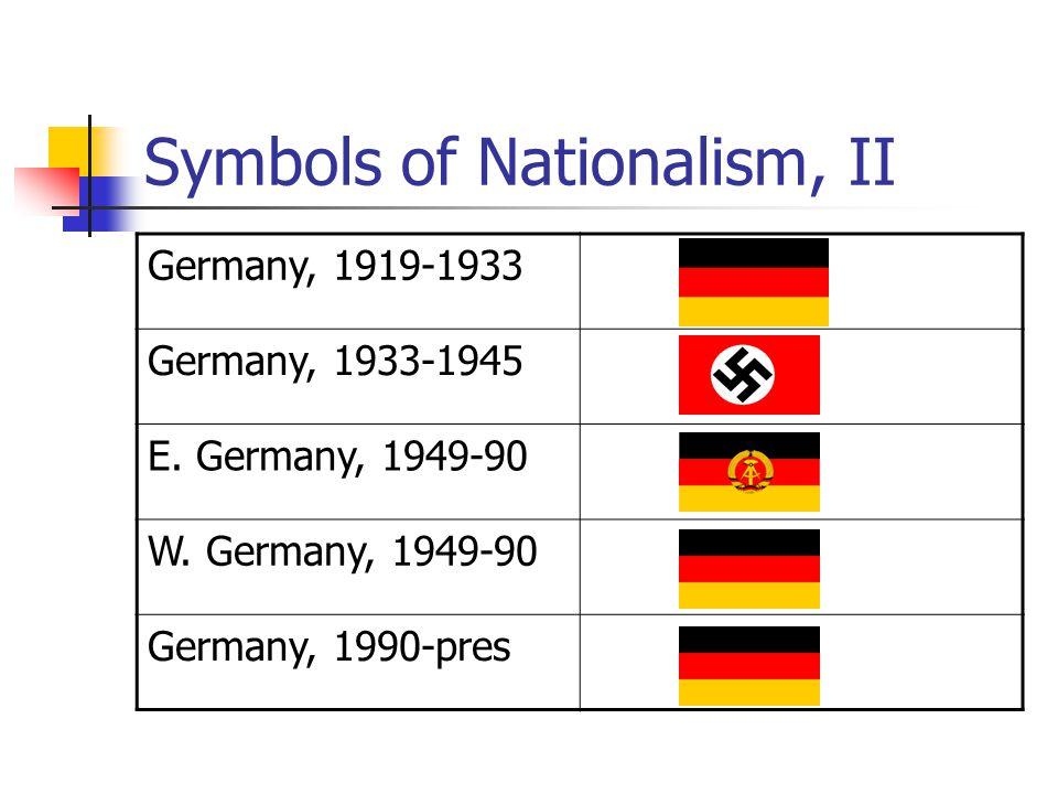 Symbols of Nationalism, II Germany, 1919-1933 Germany, 1933-1945 E. Germany, 1949-90 W. Germany, 1949-90 Germany, 1990-pres