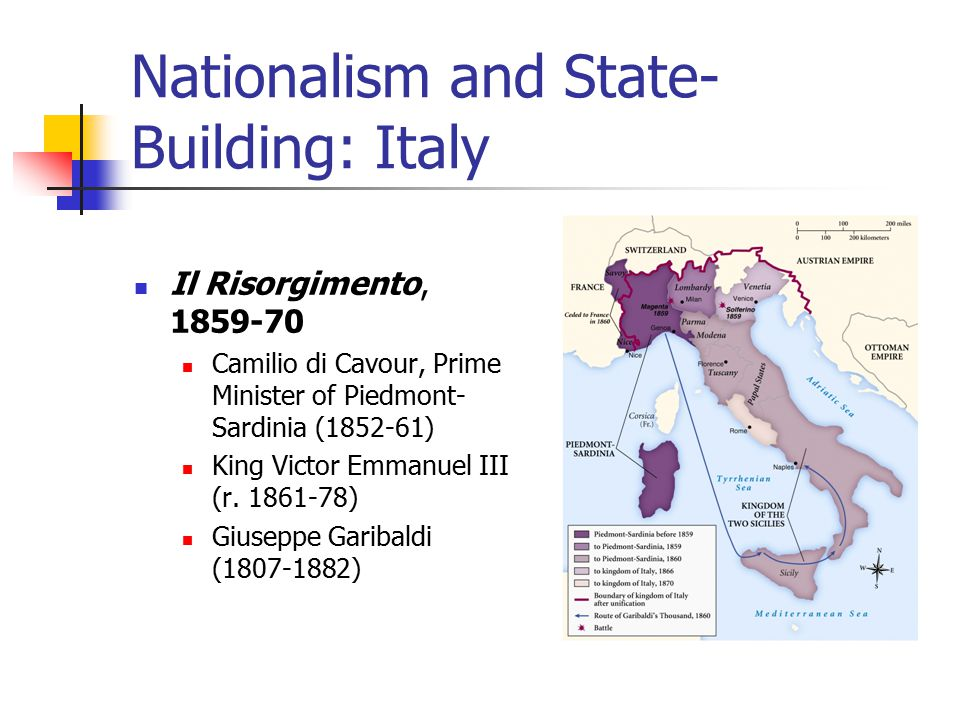 Nationalism and State- Building: Italy Il Risorgimento, 1859-70 Camilio di Cavour, Prime Minister of Piedmont- Sardinia (1852-61) King Victor Emmanuel III (r.