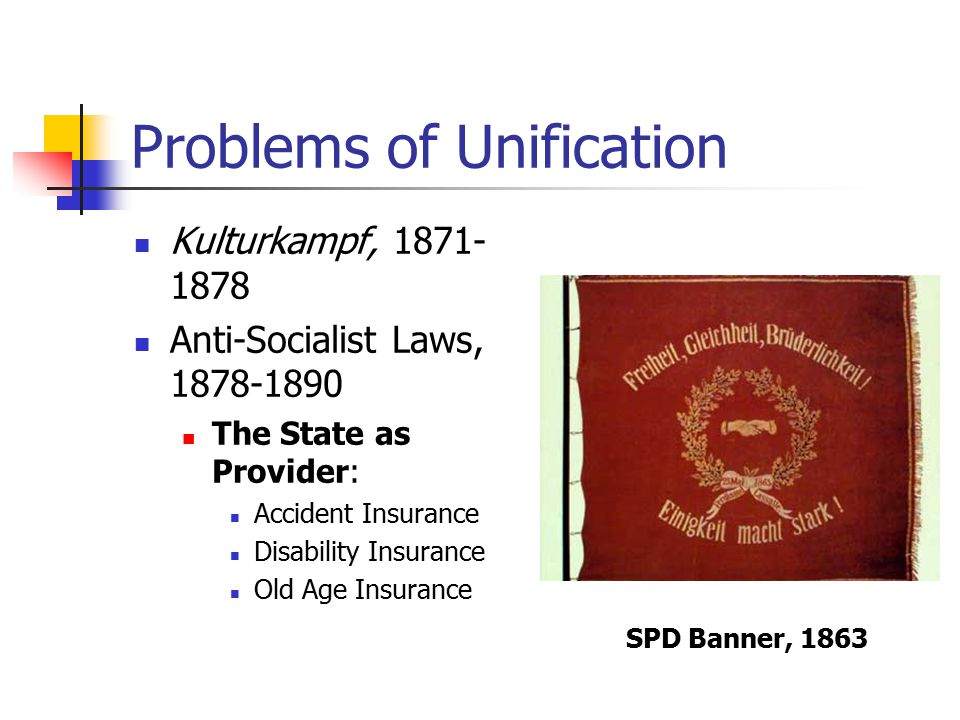 Problems of Unification Kulturkampf, 1871- 1878 Anti-Socialist Laws, 1878-1890 The State as Provider: Accident Insurance Disability Insurance Old Age Insurance SPD Banner, 1863