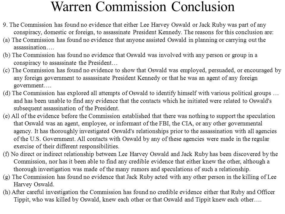Warren Commission Conclusion 9.