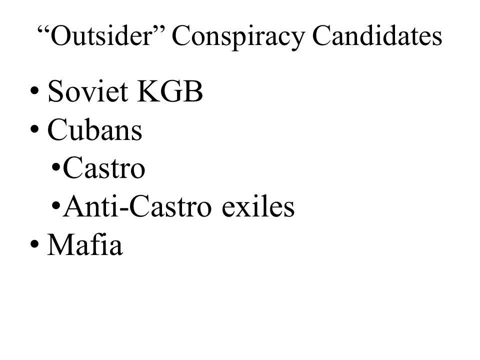 Outsider Conspiracy Candidates Soviet KGB Cubans Castro Anti-Castro exiles Mafia