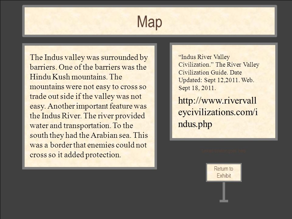 Linked citation goes here Return to Exhibit Map The Indus valley was surrounded by barriers.