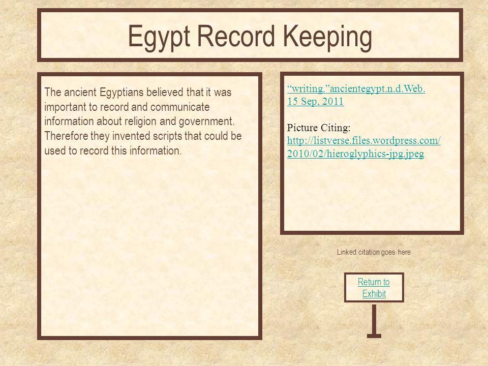 Linked citation goes here The ancient Egyptians believed that it was important to record and communicate information about religion and government.