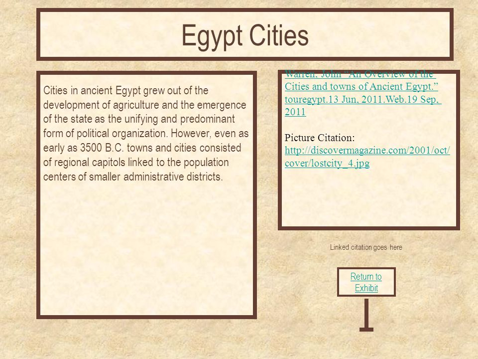 Linked citation goes here Cities in ancient Egypt grew out of the development of agriculture and the emergence of the state as the unifying and predominant form of political organization.