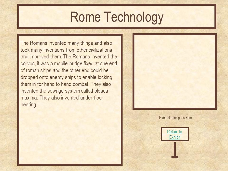 Linked citation goes here The Romans invented many things and also took many inventions from other civilizations and improved them.