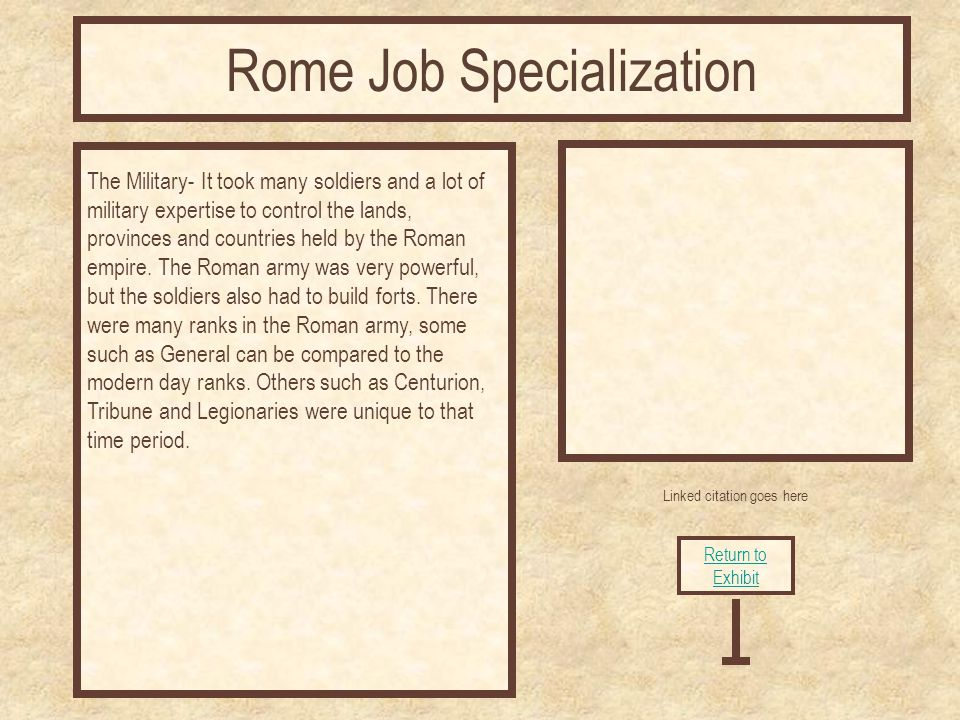 Linked citation goes here The Military- It took many soldiers and a lot of military expertise to control the lands, provinces and countries held by the Roman empire.