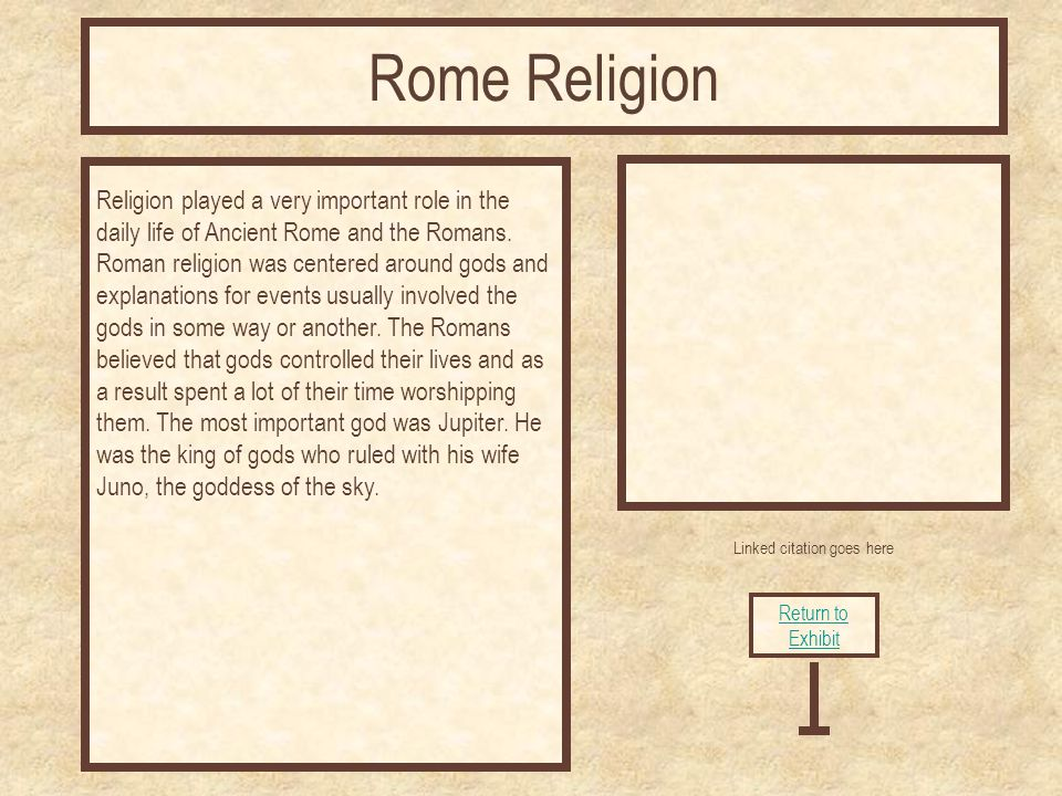Linked citation goes here Religion played a very important role in the daily life of Ancient Rome and the Romans.