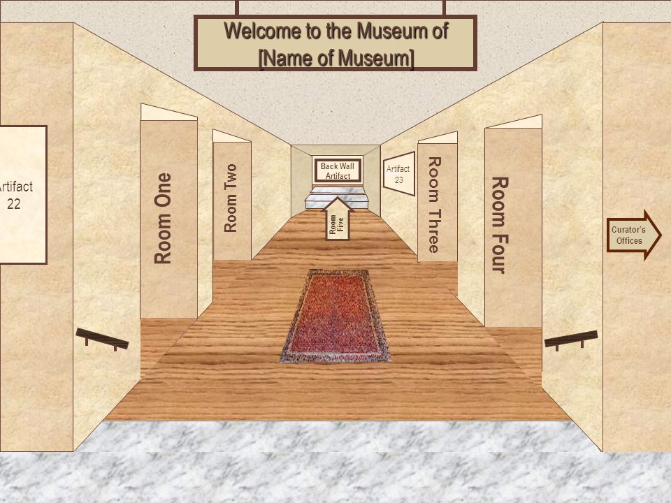 Museum Entrance Room One Room Two Room Four Room Three Welcome to the Museum of [Name of Museum] Curator's Offices Room Five Artifact 22 Artifact 23 Back Wall Artifact