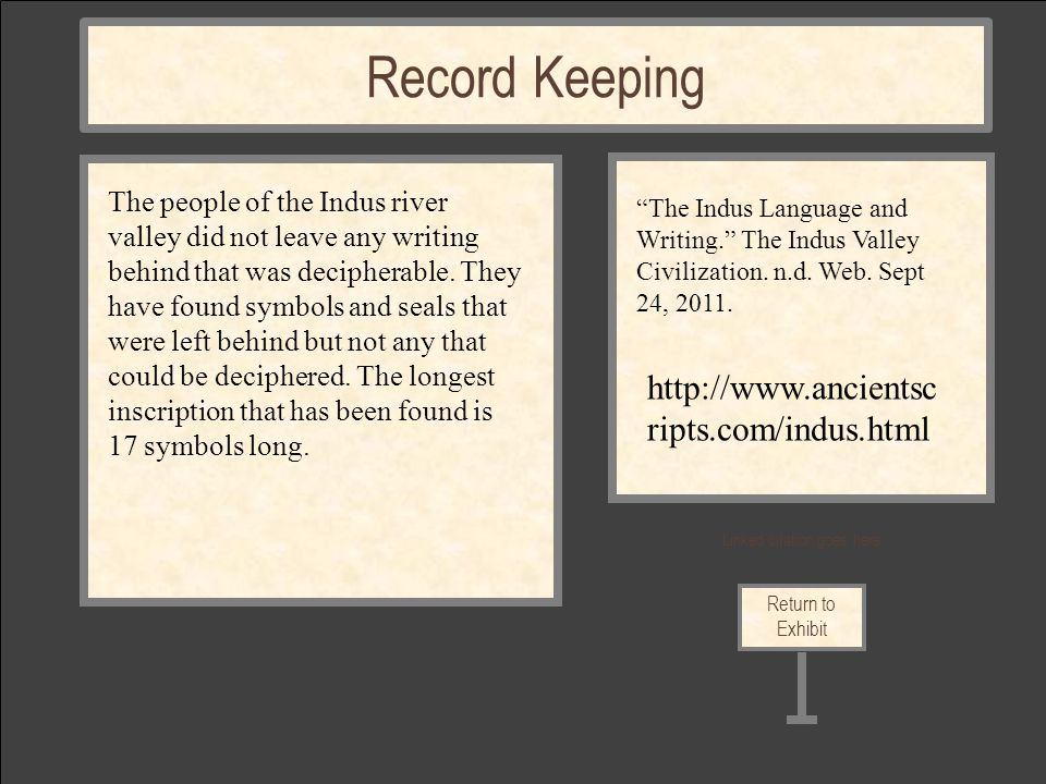 Linked citation goes here Return to Exhibit Record Keeping The people of the Indus river valley did not leave any writing behind that was decipherable.