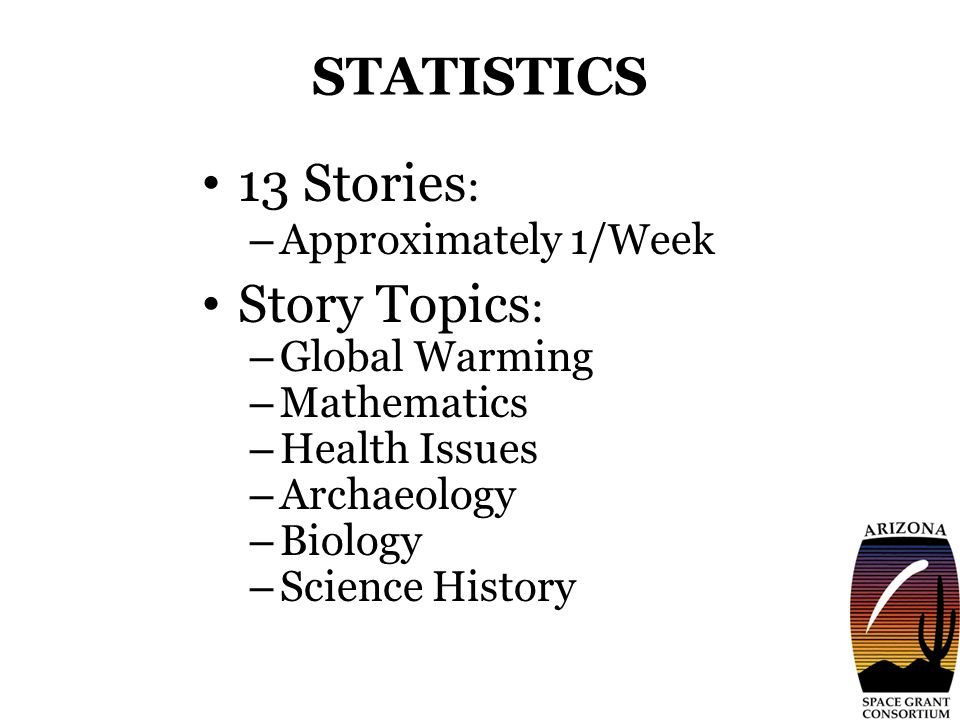 STATISTICS 13 Stories : – Approximately 1/Week Story Topics : – Global Warming – Mathematics – Health Issues – Archaeology – Biology – Science History