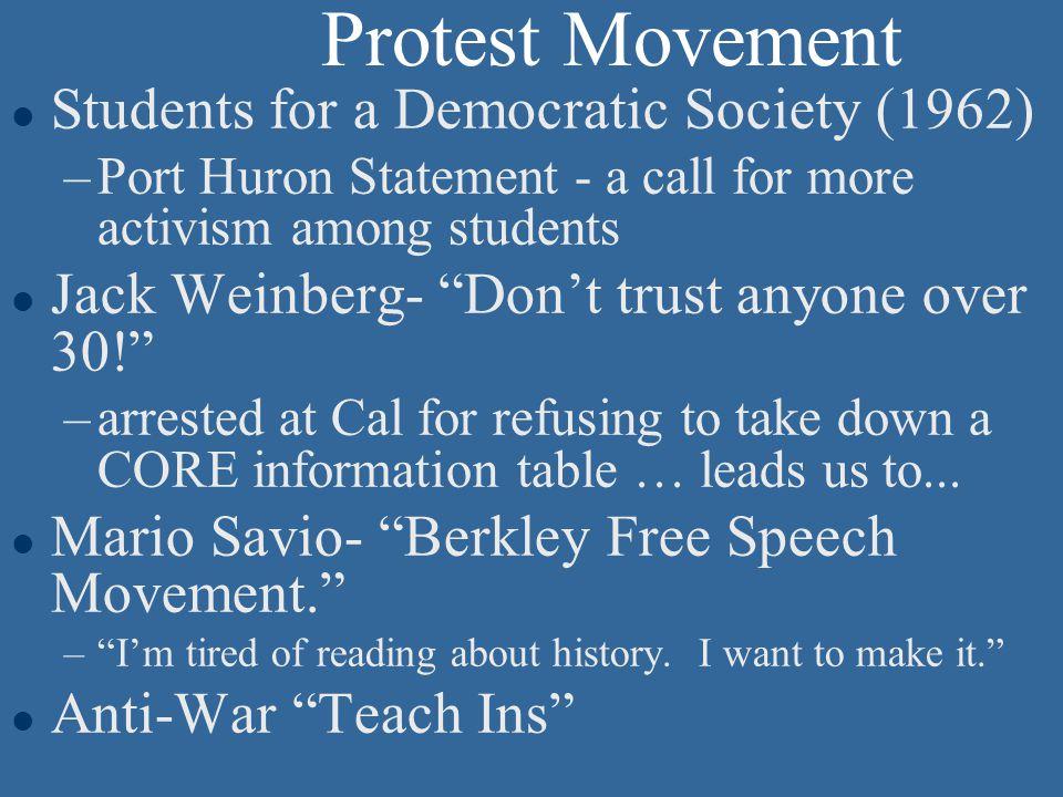 Backdrop for the Election l Civil Rights Movement l Race riots l Campus Protests l Anti-War movement