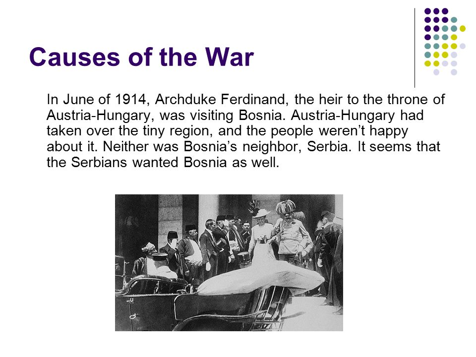 Causes of World War I A Serbian nationalist, Gavrilo Princip, assassinated the Archduke and his wife.