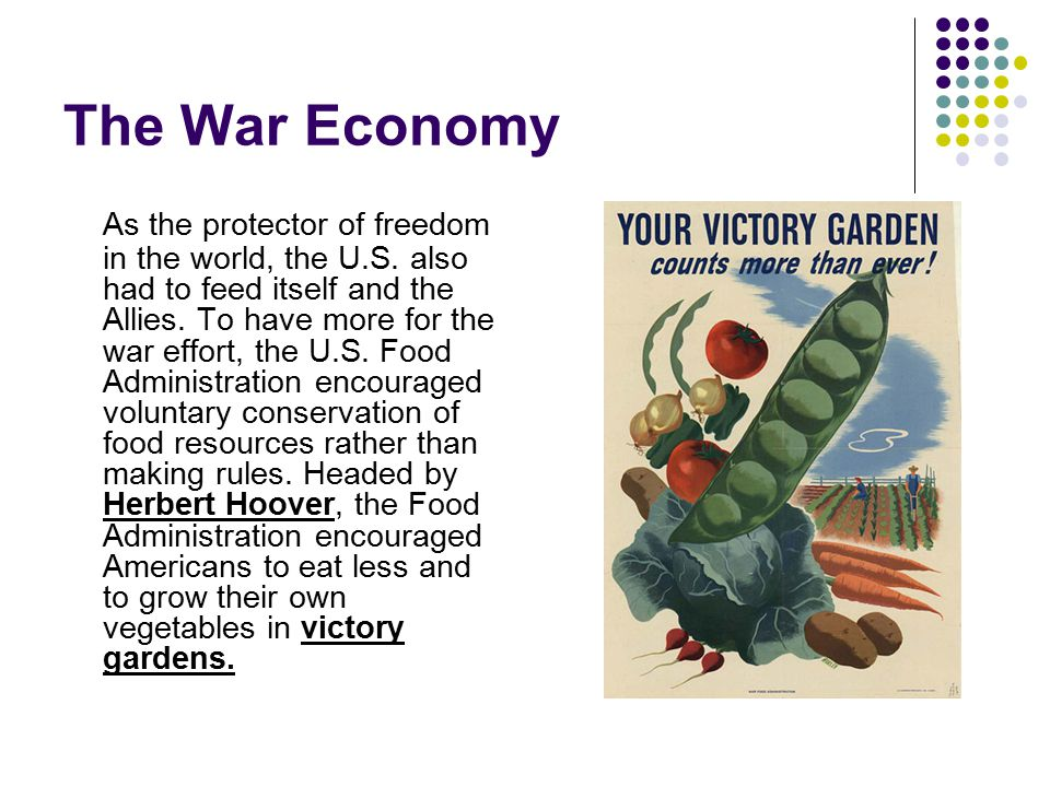 The War Economy American farm production increased by 25% and food shipments to the Allies increased dramatically.
