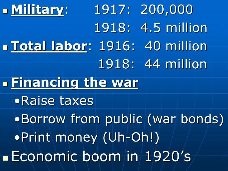 U.S. Economics of WWI United States economy was in a recession prior to 1914 United States economy was in a recession prior to 1914 Recession- Period