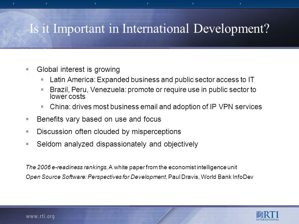 Is it Important in International Development.