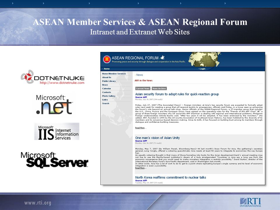ASEAN Member Services & ASEAN Regional Forum Intranet and Extranet Web Sites